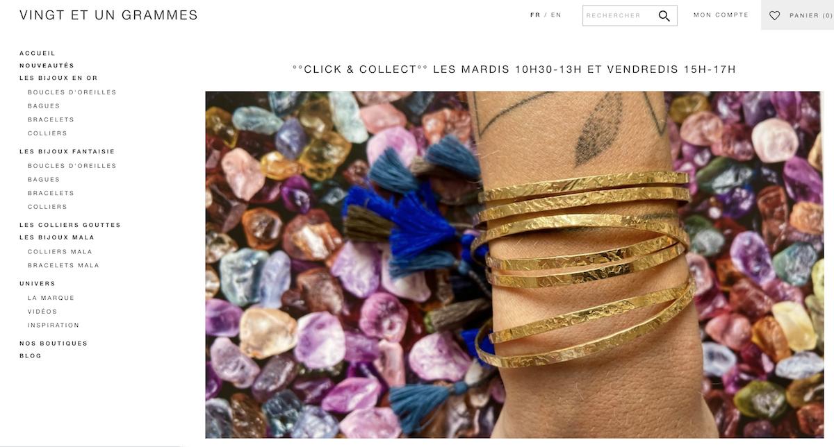 Vingt et Un Grammes bijoux or collier gouttes collier Mala
