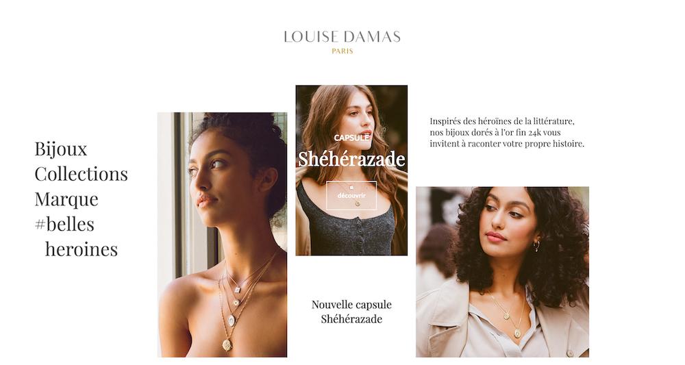 bijoux Louise Damas Paris créatrice de bijou française collection de bijoux collier bracelets boucles d'oreilles pour femmes
