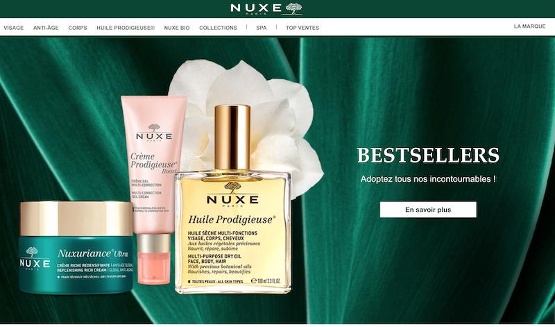 Nuxe cosmétique et crèmes pour la peau fabriqués en France